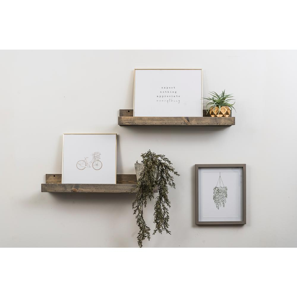 Del Hutson Designs Rustic Luxe 7 in. x 24 in. Gray Pine Floating Decorative Wall Shelves