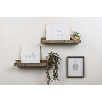 Rustic Luxe 7 in. x 24 in. Gray Pine Floating Decorative Wall Shelves