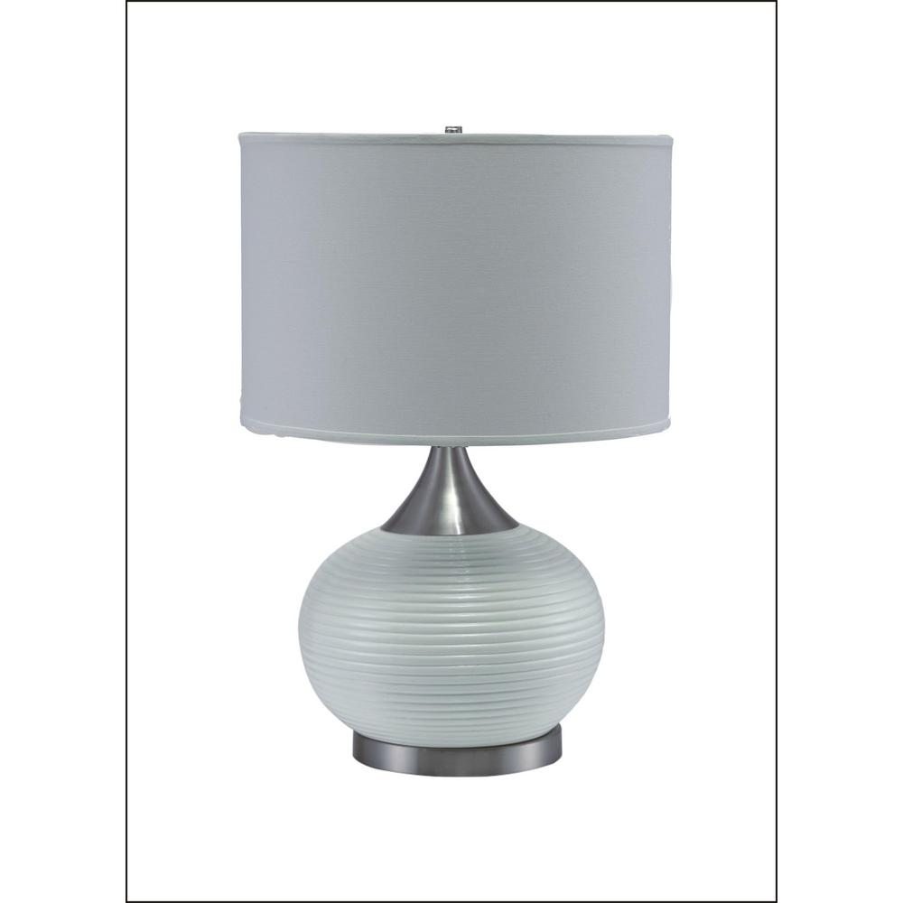 Ore International Horizon 24 5 In Clear Ceramic And Silver Table Lamp With White Linen Shade