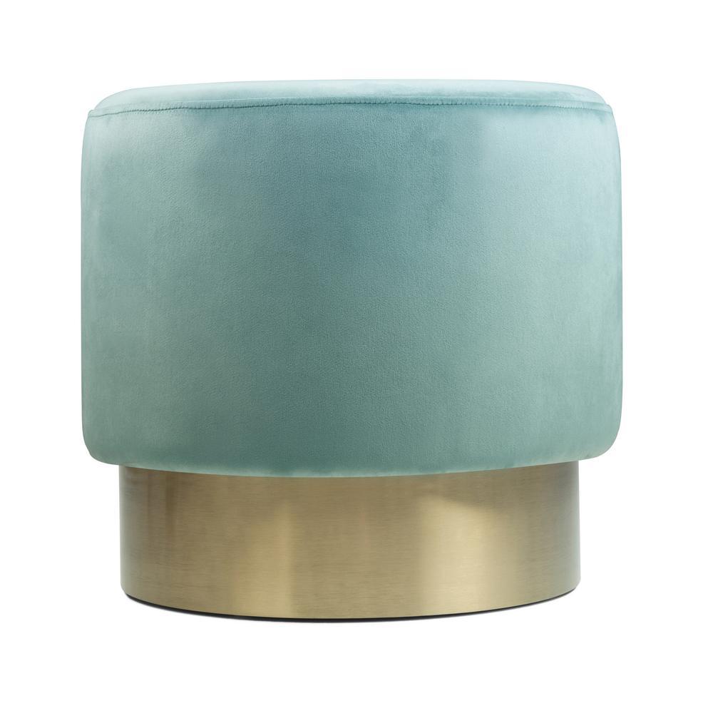 Simpli Home Bardoe Sea Foam Green Velvet Small Round Ottoman