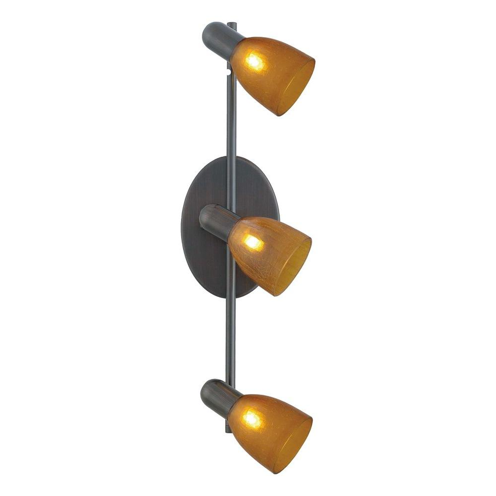 Eglo Benita 3-Light Bronze Lighting Track with Amber Shades