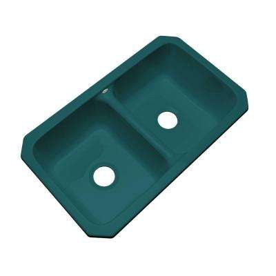 Newport Undermount Acrylic 33 in. 0-Hole Double Bowl Kitchen Sink in Teal