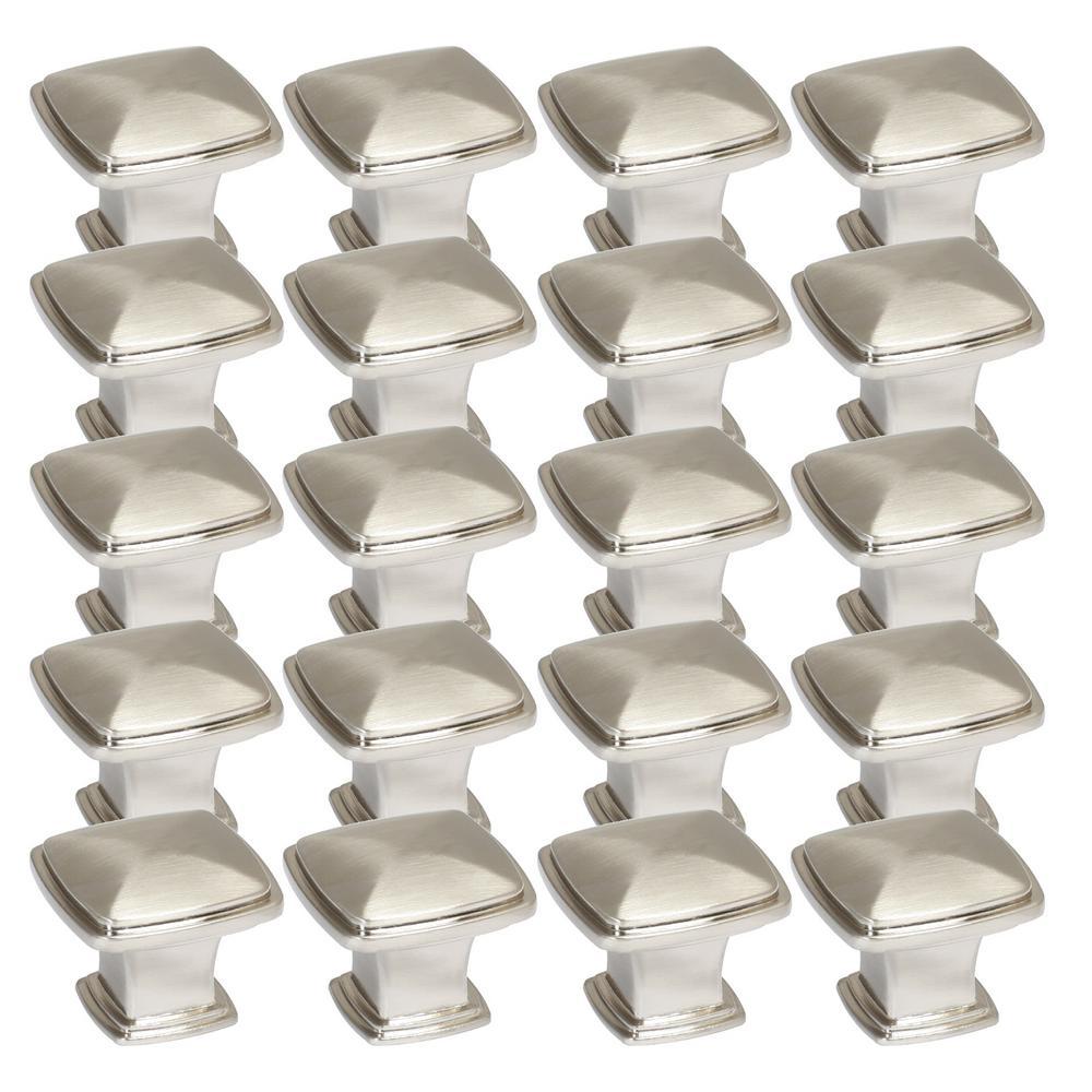 Park Avenue 1-1/4 in. Satin Nickel Cabinet Knob Value Pack (20-Pack)