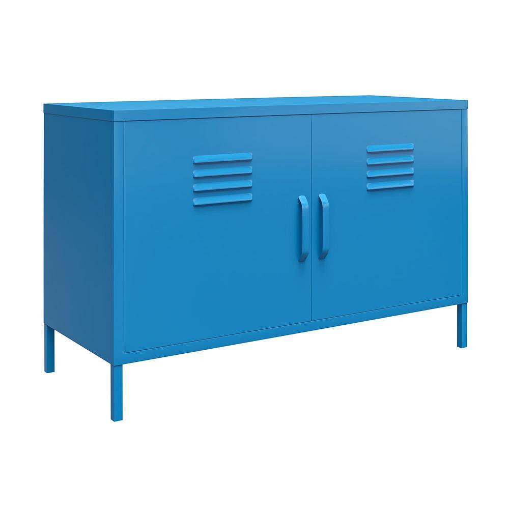 Cache Blue 2-Door Metal Locker Accent Cabinet