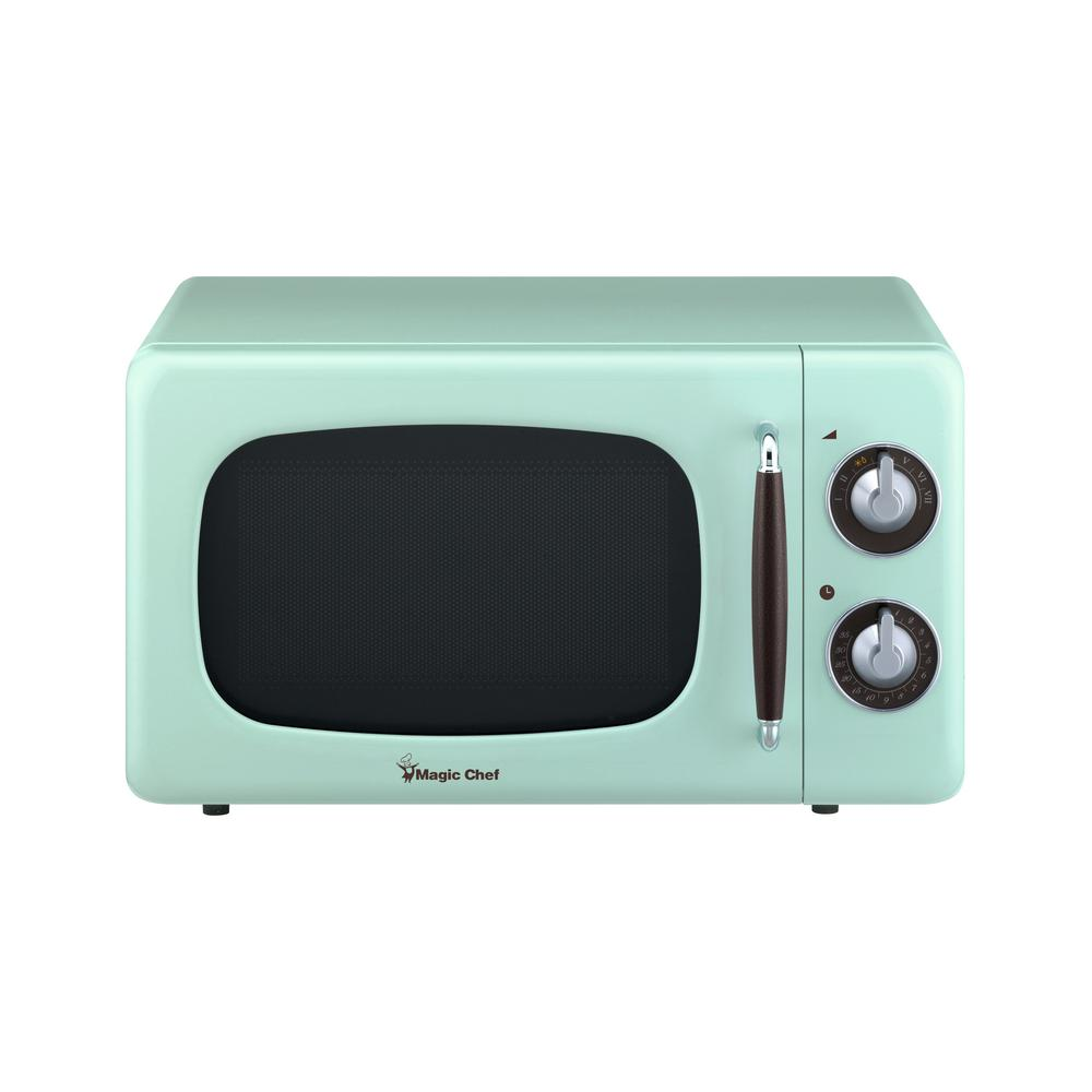 Magic Chef Retro 0 7 Cu Ft Countertop Microwave In Mint Green