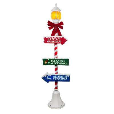 72 in. Holiday Lamppost with LED Illuminated Lantern