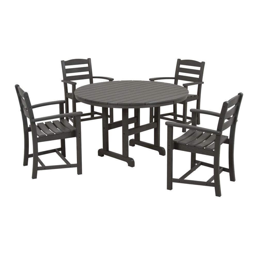 La Casa Cafe Slate Grey 5-Piece Plastic Outdoor Patio Dining Set