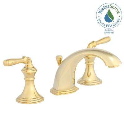 Widespread 2 Handle Low Arc Bathroom Faucet In Vibrant Polished