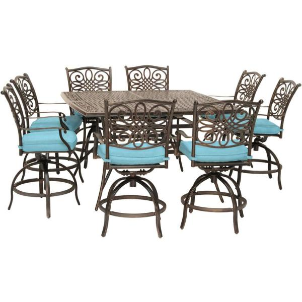 Traditions 9-Piece Aluminum Outdoor Dining Set with Blue Cushions, 8-Swivel Chairs and a 60 in. Square Cast-Top Table