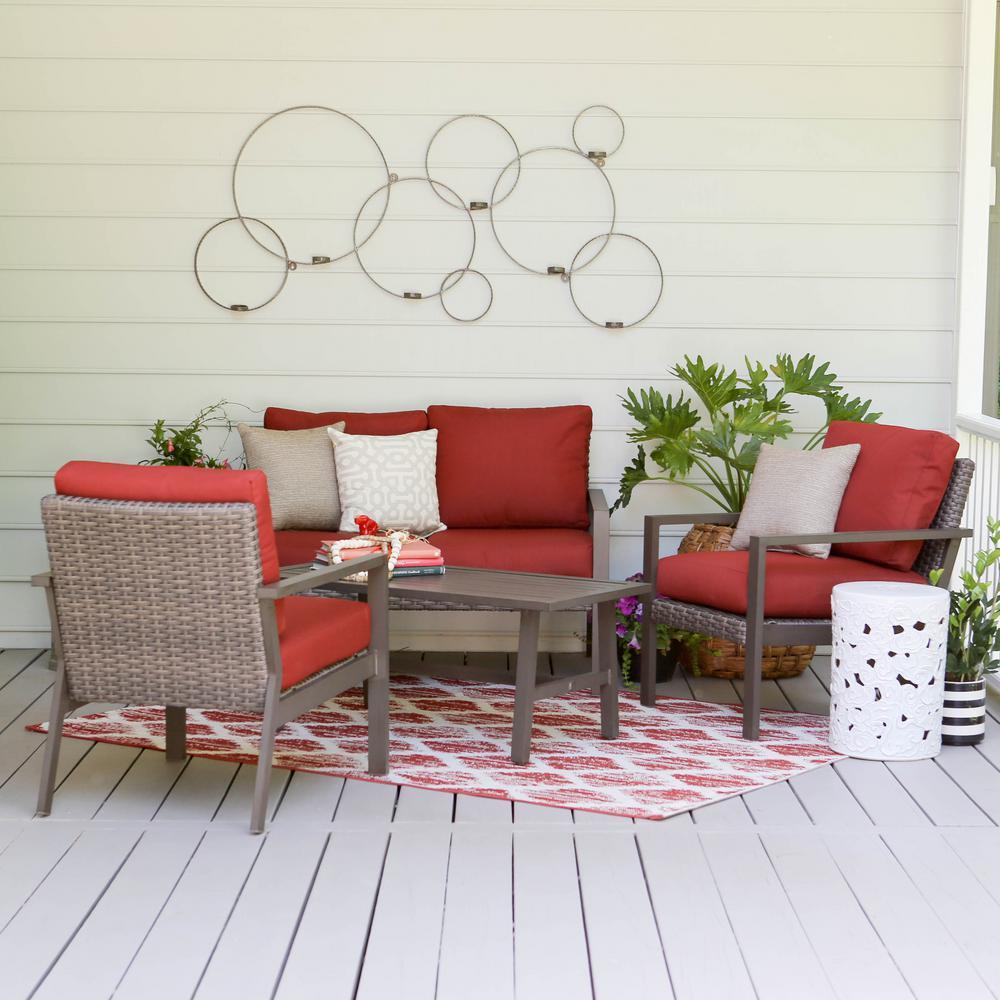 Preston 4-Piece Wicker Patio Conversation Set with Red Cushions