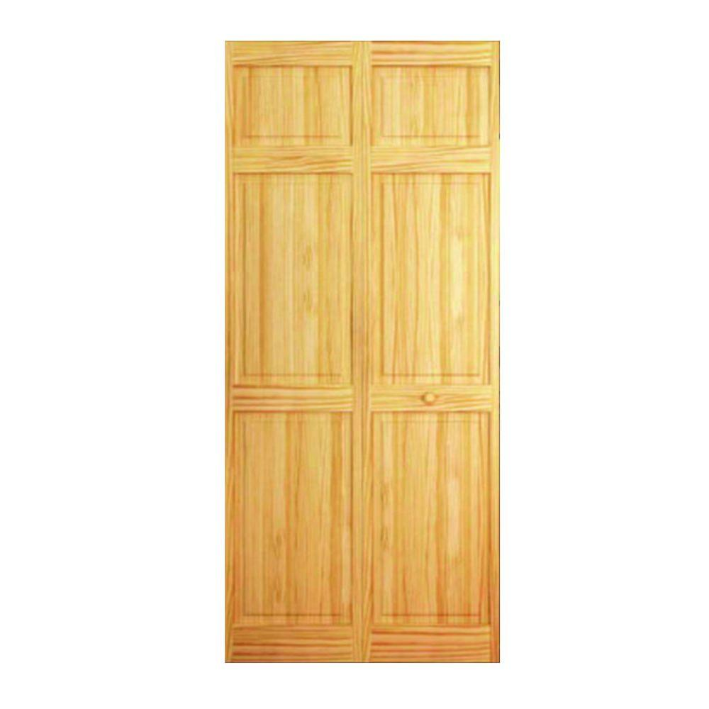 32 In X 80 Clear 6 Panel Solid Core Unfinished Wood Interior Closet Bi Fold Door