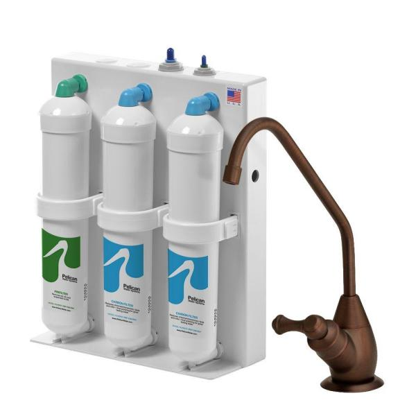 3-Stage Undercounter Drinking Water Filter with Oil Rubbed Bronze Dispenser