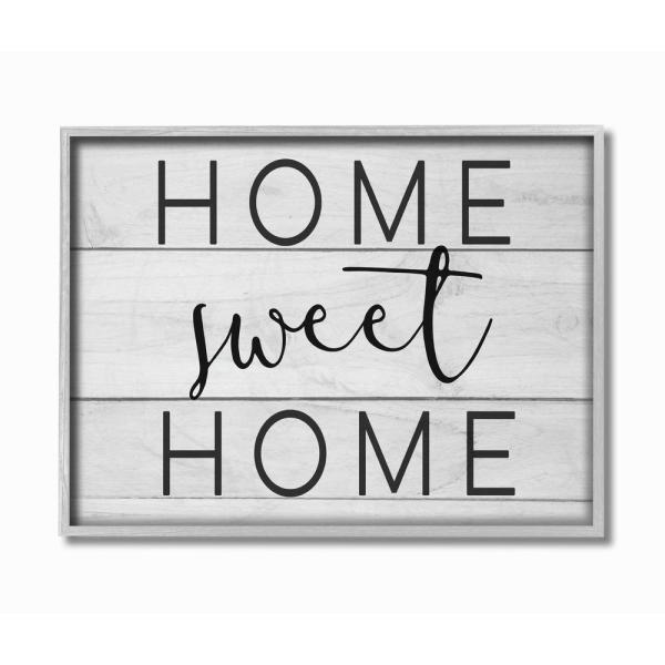The Stupell Home Decor Collection 16 In X 20 In Home Sweet Home Planks By Daphne Polselli Framed Wall Art Fwp 152 Gff 16x20 The Home Depot