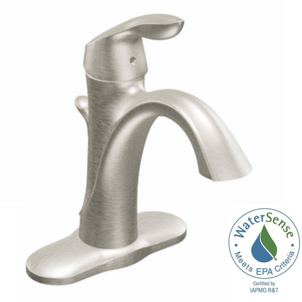 Moen Eva Single Hole Single Handle High-Arc Bathroom Faucet in Brushed Nickel by MOEN