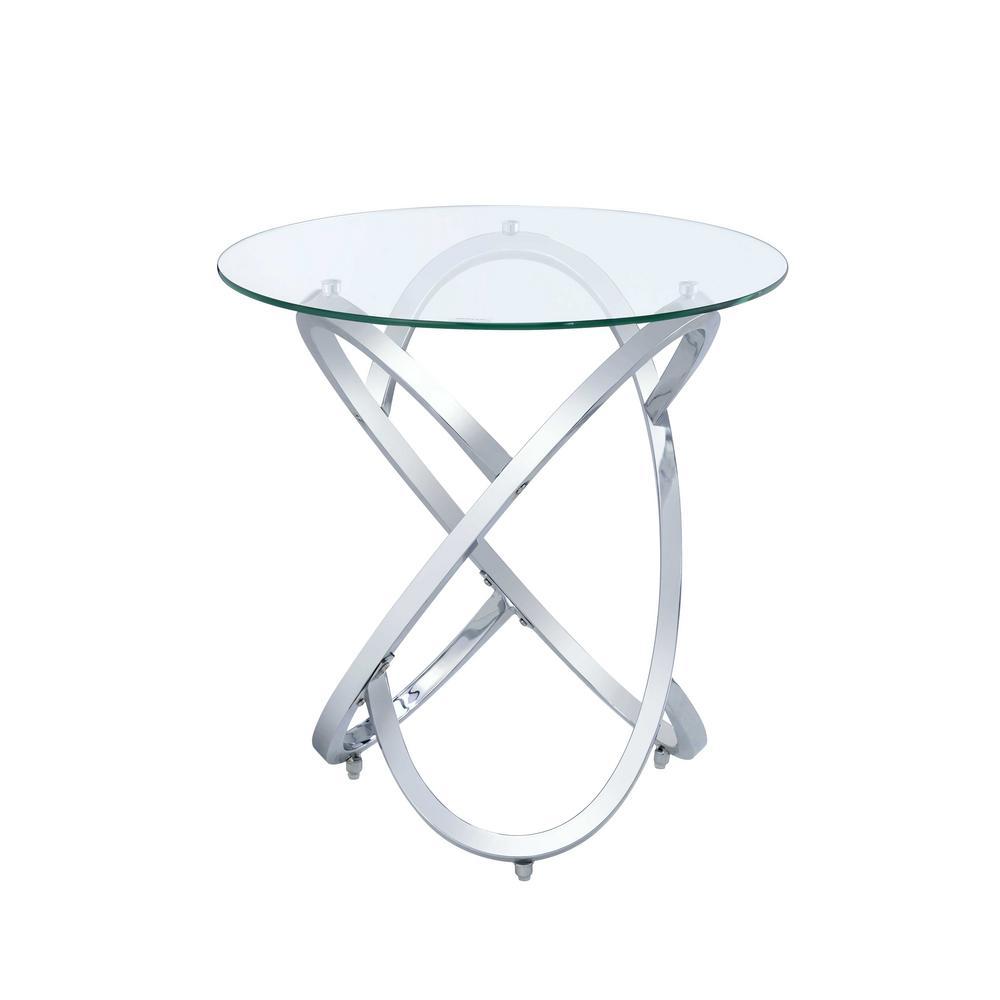Marlon Chrome and Clear Glass End Table