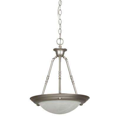 2-Light Satin Nickel Bowl Pendant