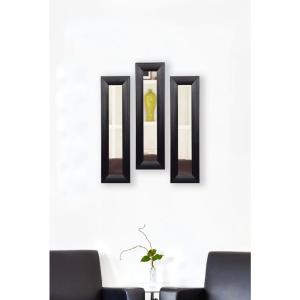 11.75 inch x 32.75 inch Stitched Black Leather Vanity Mirror (Set of 3-Panels) by