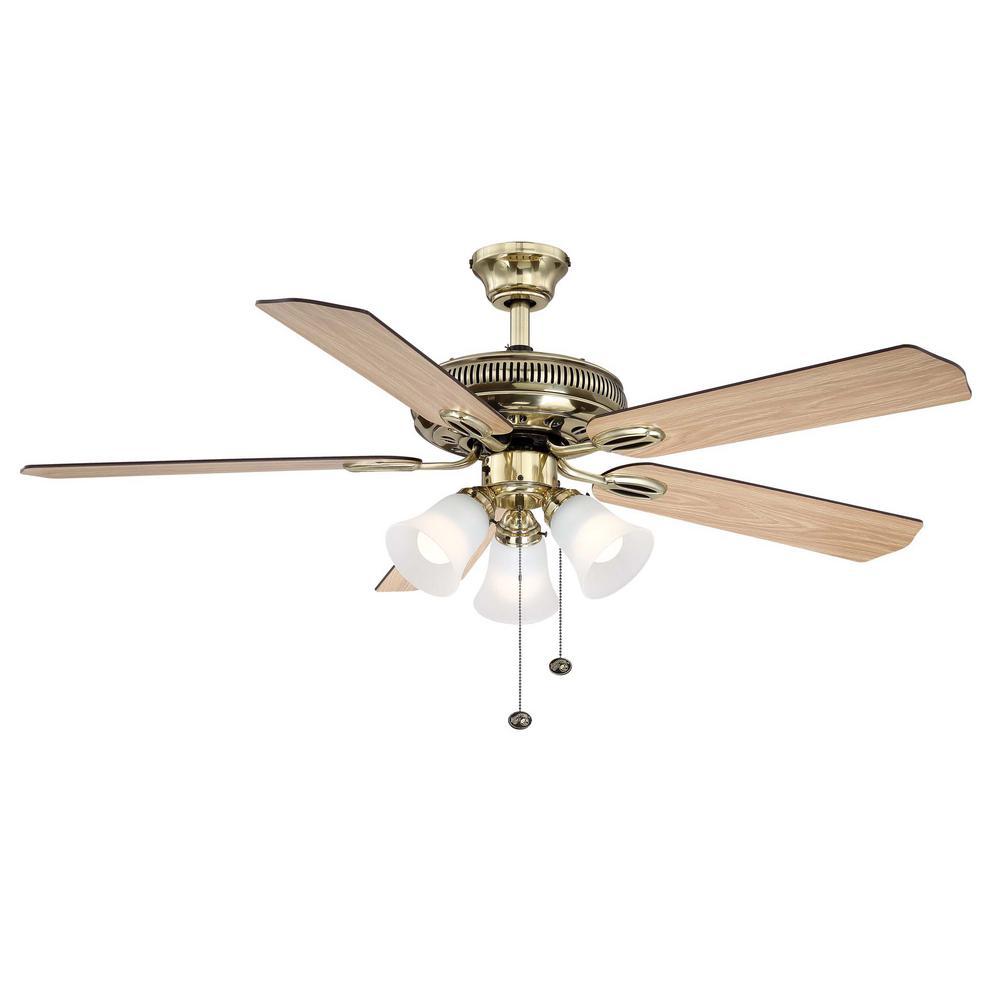Hampton Bay Glendale 52 In Led Indoor Flemish Br Ceiling Fan With Light Kit