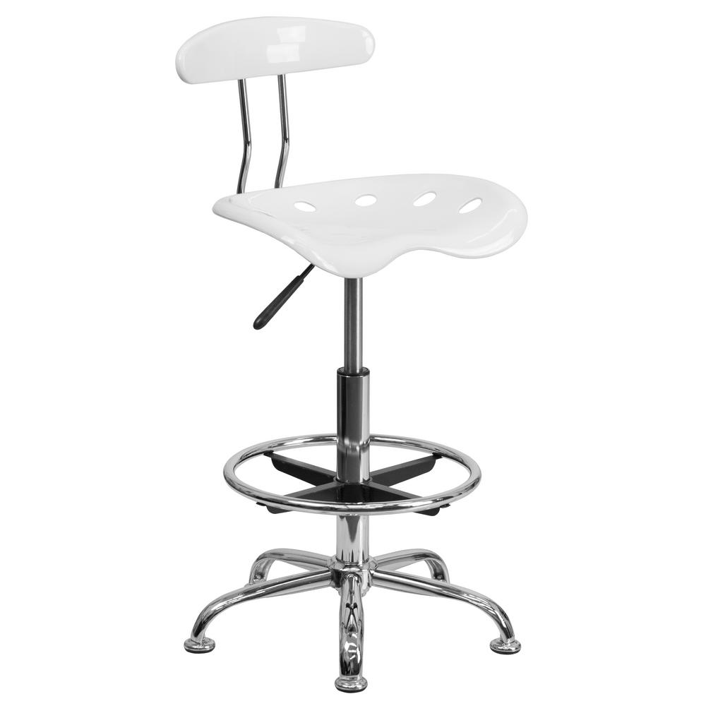 FLASH Vibrant White and Chrome Drafting Stool with Tracto...