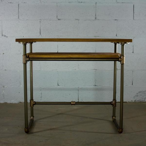 OS Home and Office Furniture Brushed Brass Industrial Pipe Desk with