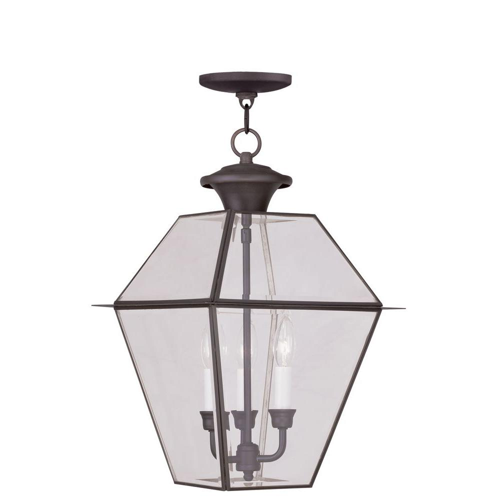Livex Lighting Providence 3-Light Bronze Outdoor Incandescent Hanging Lantern