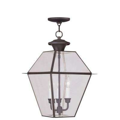 Providence 3-Light Bronze Outdoor Incandescent Hanging Lantern
