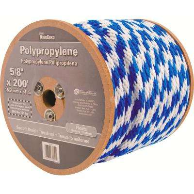5/8 in. x 200 ft. Smooth Braid Polypropylene Reeled Rope in Blue and White
