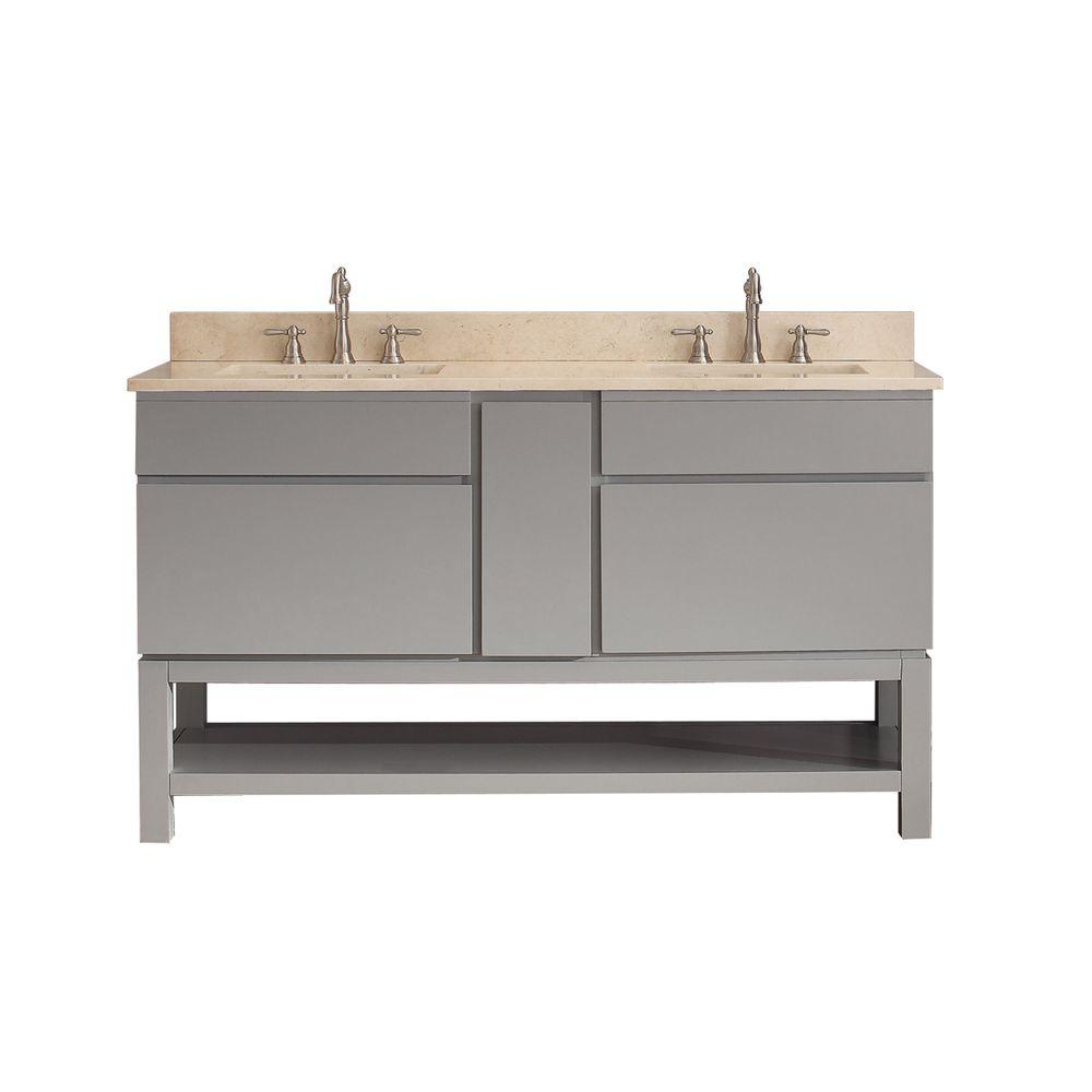 Avanity Tribeca 61 in. W x 22 in. D x 20.7 in. H Vanity in Chilled Gray with Marble Vanity Top in Galala Beige and White Basins