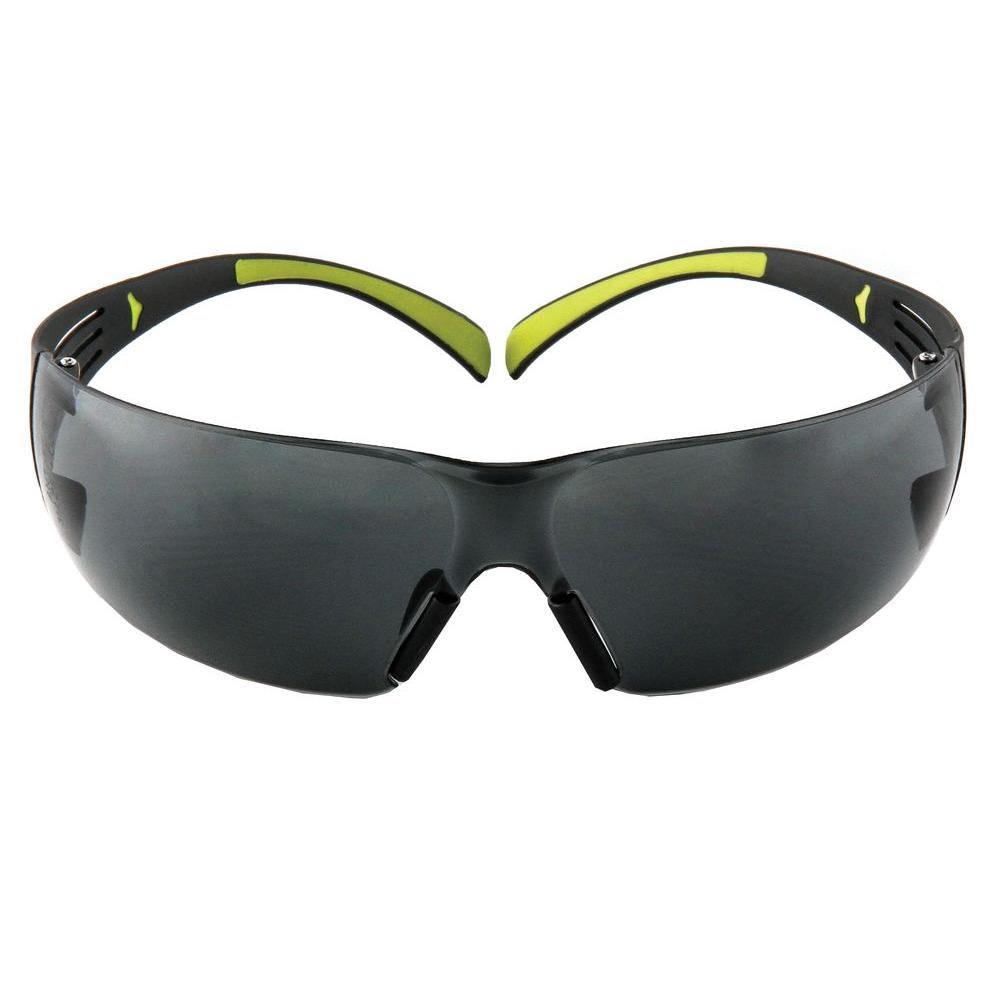 3M SecureFit 400 Black/Neon Green Frame with Gray Anti-Fog Lenses Safety Glasses