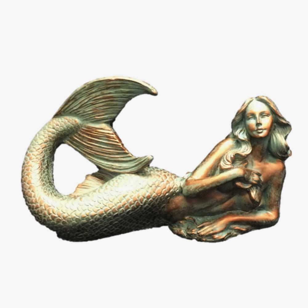 12 in. Bronze Patina Sexy Mermaid Nautical Beach Statue