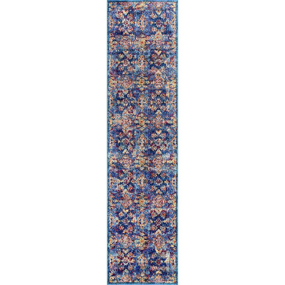 Vintage Floral Tiles Busby Blue 2 ft. x 8 ft. Runner