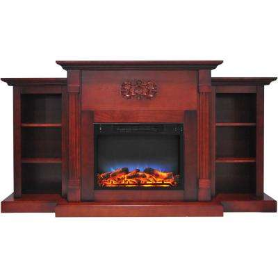 Sanoma 72 in. Electric Fireplace in Cherry with Bookshelves and a Multi-Color LED Flame Display