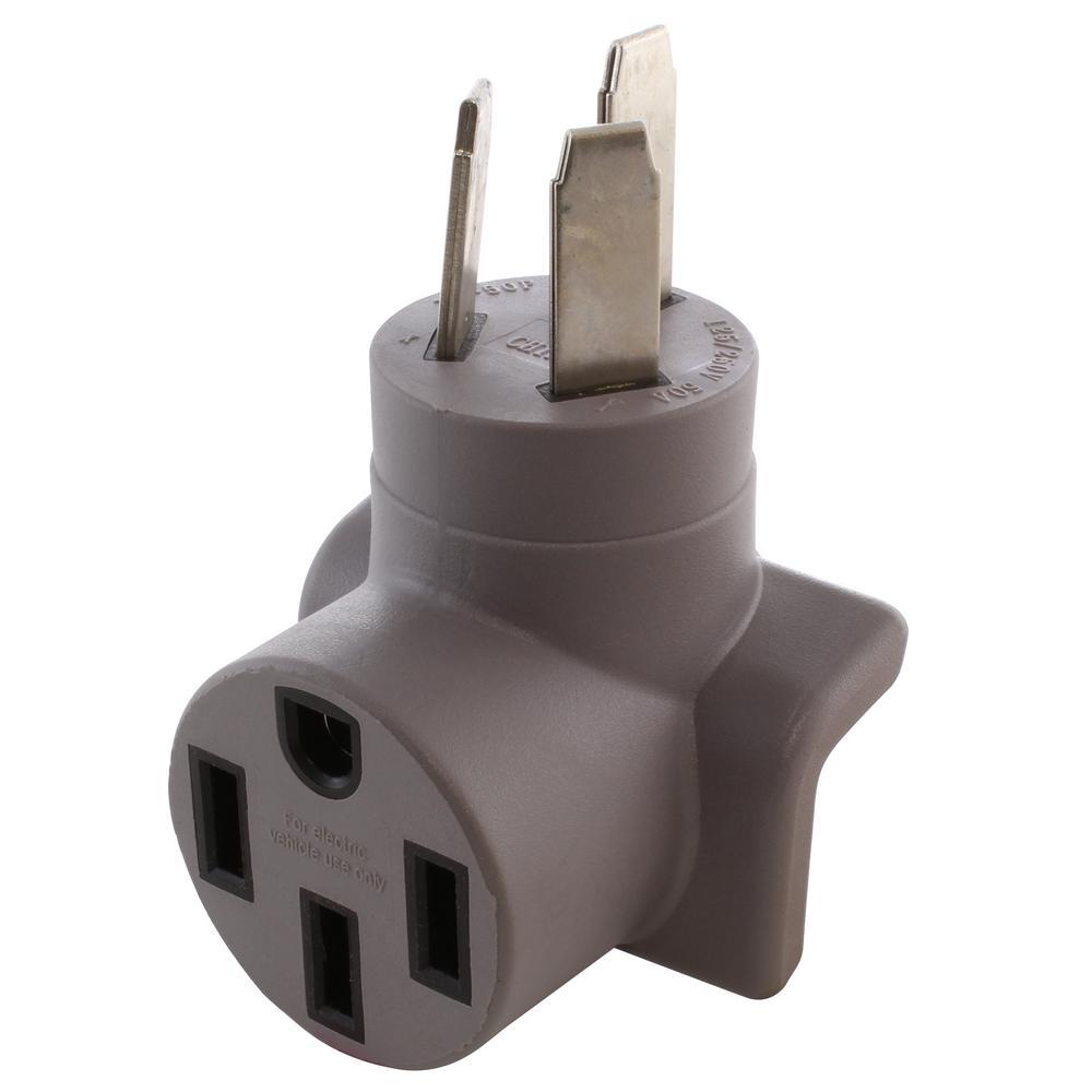 Ac Works Electric Vehicle Charging Adapter For Tesla Use 50 Amp Nema 10 50 Plug To Nema 14 50 Tesla Connector Ev1050ms The Home Depot
