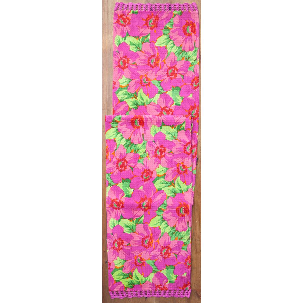 Fuchsia Daydream Floral Honeycomb 13 in. x 72 in. Table Runner