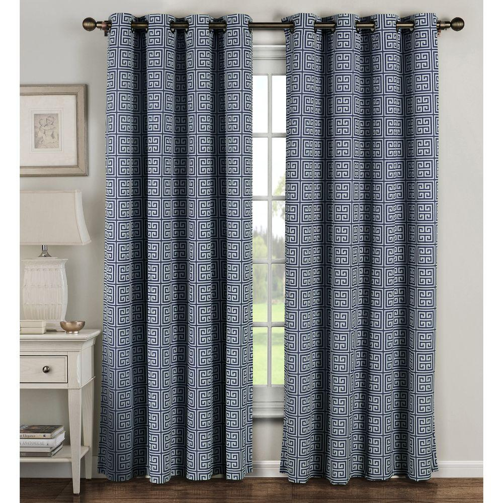 Window Elements Semi-Opaque Greek Key Cotton Blend Extra Wide 84 in. L Grommet Curtain Panel Pair, Navy (Set of 2)