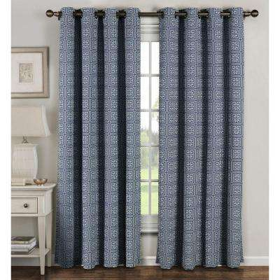 Semi-Opaque Greek Key Cotton Blend Extra Wide 84 in. L Grommet Curtain Panel Pair, Navy (Set of 2)