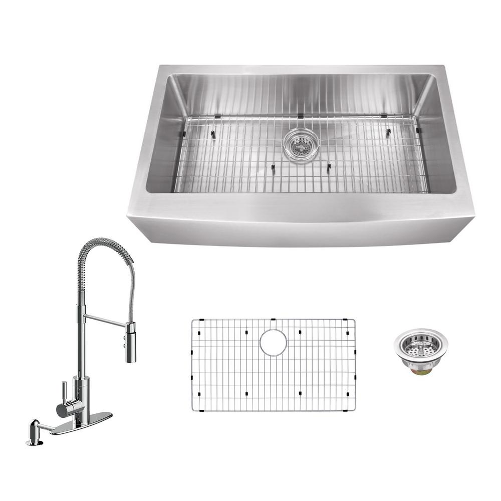 Schon SCAPS Undermount Gauge Apron Front 60/40 Kitchen Sink 32 7/8-Inch by 21 1/2-Inch, Stainless Steel - Double Bowl Sinks - funnebux.gq