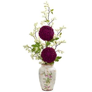 Rose and Cherry Blossom Artificial Silk Arrangements Red//White Nearly Natural 1770 28-in