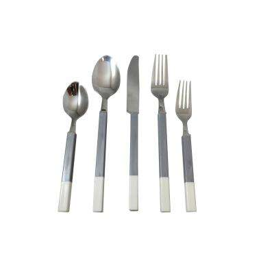 Northfield 20-Piece Grey and White Stainless Flatware Set