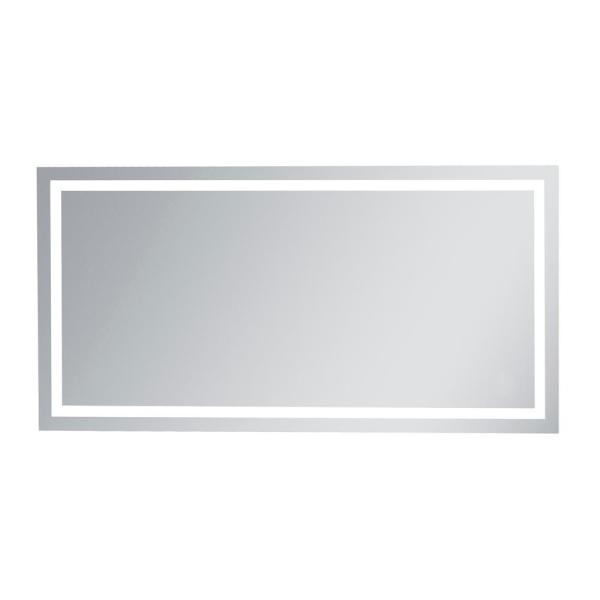 Timeless Home 72 in. H x 36 in. W Single Modern Rectangular Aluminum Lighted LED Mirror in Silver(5000K)