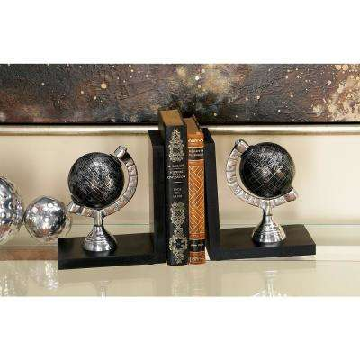 Black Globe Bookends (Set of 2)
