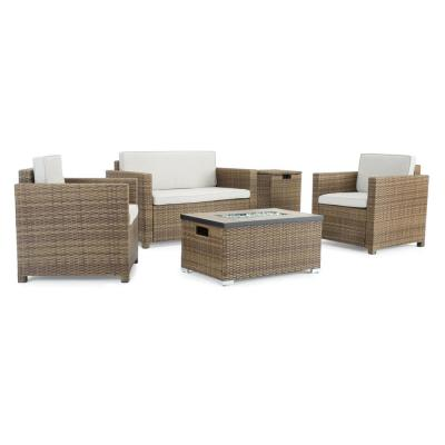 Boulder Brown 4-Piece Wicker Patio Fire Pit Conversation Set with Beige Cushions