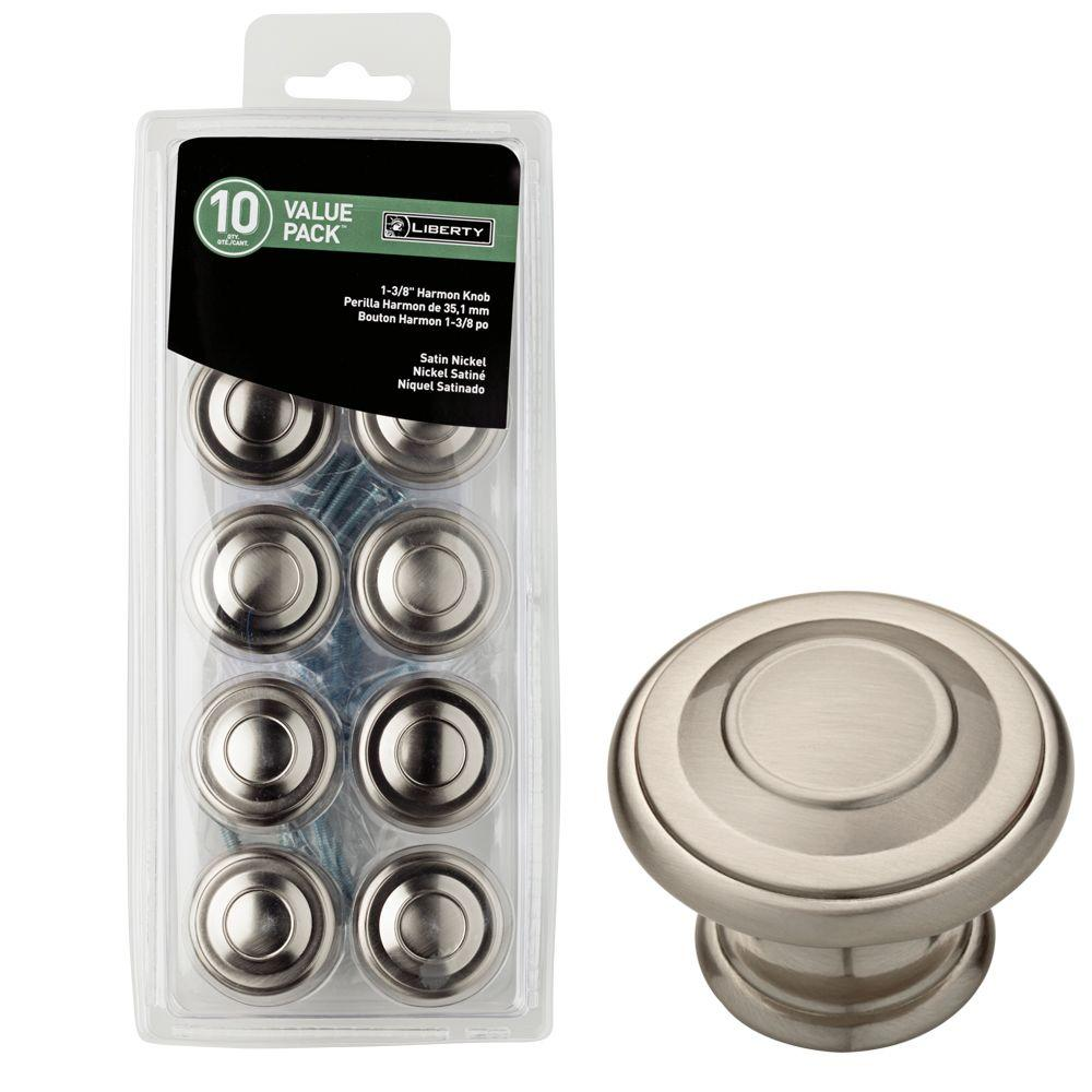 Liberty 1 3 8 in satin nickel harmon cabinet knob 10 pack p22669c sn u1 the home depot Home depot cabinet door knobs
