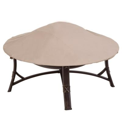 Chalet Water Resistant Round Outdoor Patio Firepit Cover, 44 in. DIA x 3 in. H, Beige