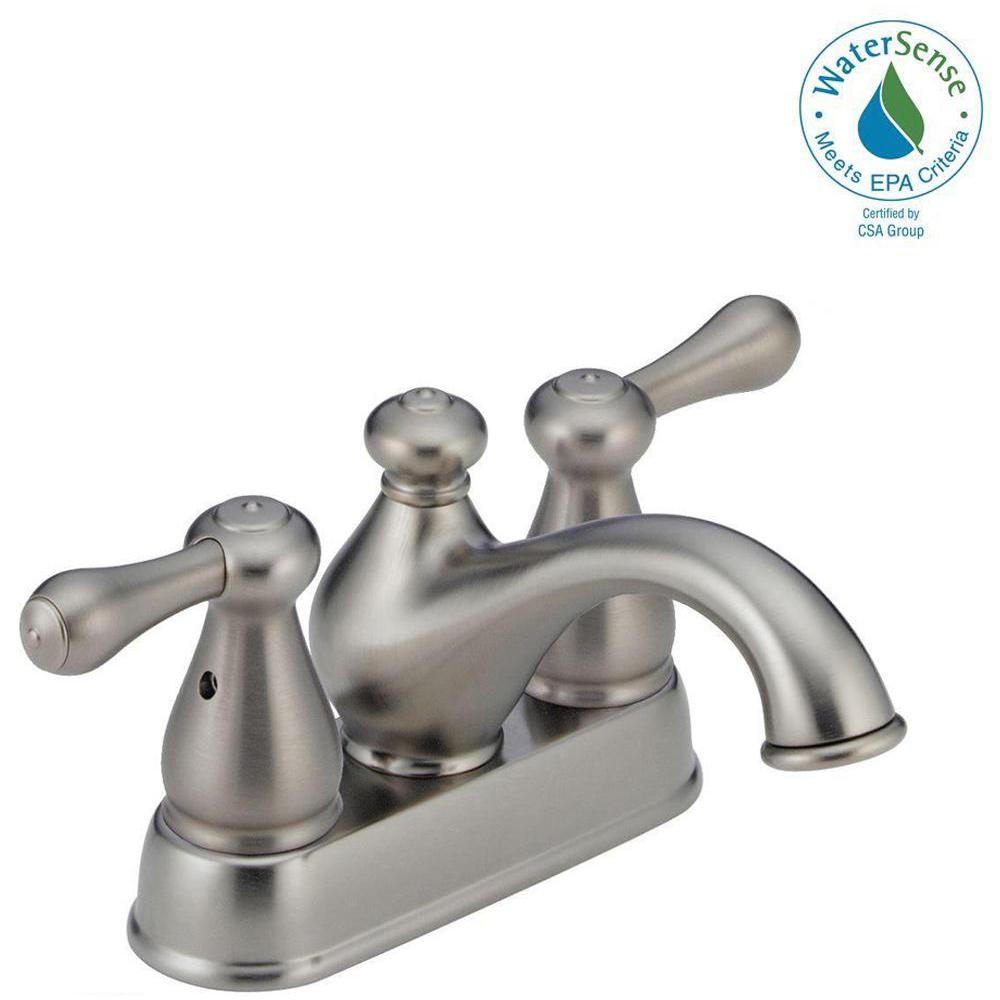 Delta Leland 4 In Centerset 2 Handle Bathroom Faucet In Stainless