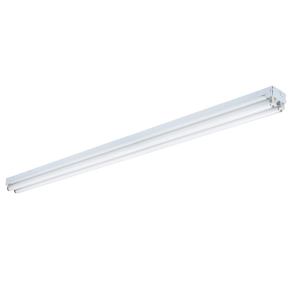 Lithonia Lighting 8 ft. 2-Light White Fluorescent Non-Hooded Strip ...