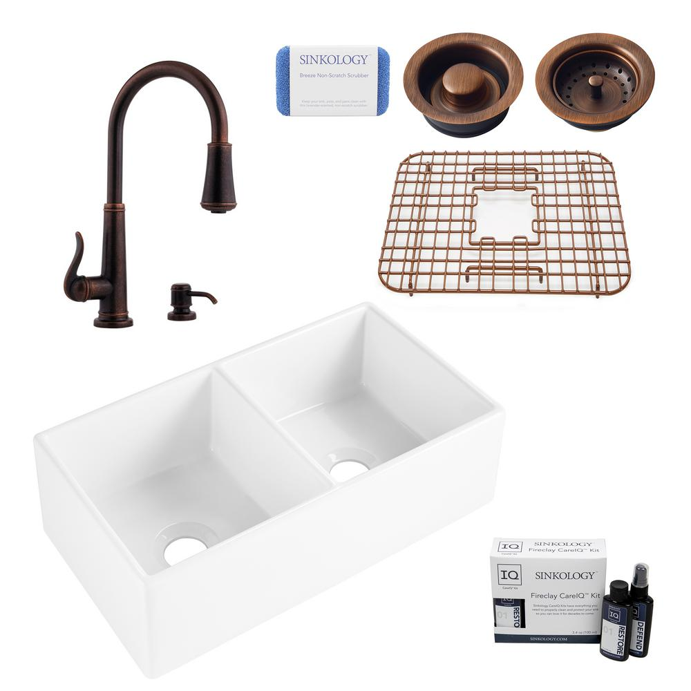 SINKOLOGY Brooks II All-in-One Farmhouse Fireclay 33 in 50/50 Double Bowl Kitchen Sink with Pfister Bronze Faucet and Drains