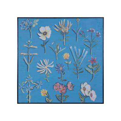 """48 in. x 48 in. """"Dried Flowers I"""" Hand Painted Framed Canvas Wall Art"""