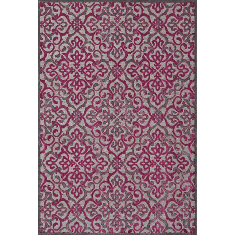 Feizy Saphir Rubus Pewter/Raspberry 5 ft. 3 in. x 7 ft. 6 in. Indoor Area Rug