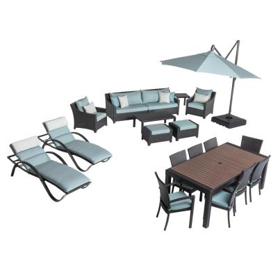 Deco Estate Wicker 20-Piece Patio Conversation Set with Sunbrella Spa Blue Cushions